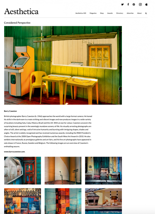 Barry Cawston Aesthetica magazine