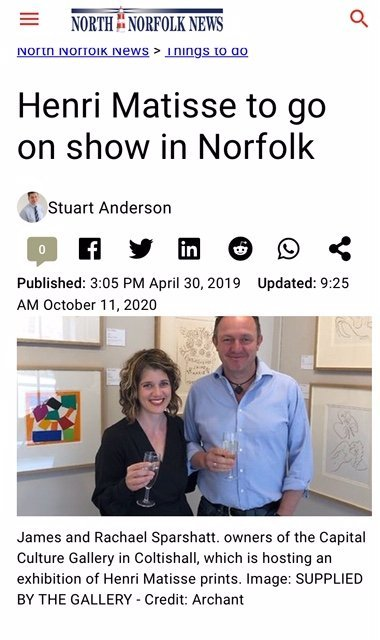 Capital Culture Gallery featured in the North Norfolk News 2019