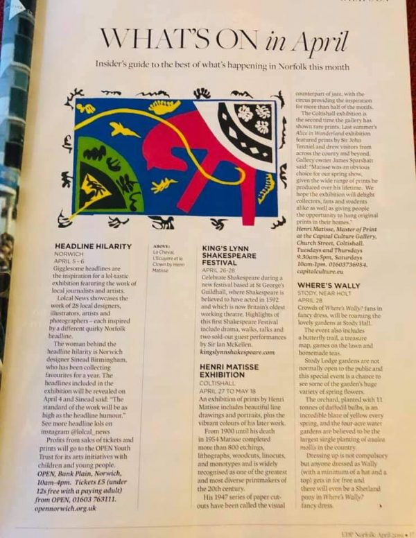 Capital Culture Gallery featured in the Norfolk Magazine 2019
