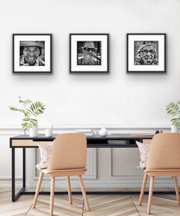 "Three 20"" x 16"" prints hanging as a set"