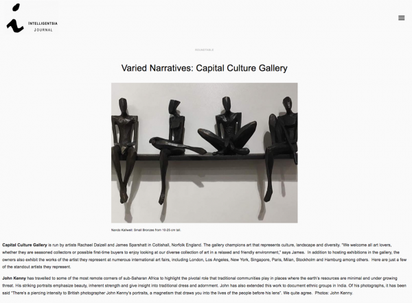 Capital Culture gallery featured Intelligentsia journal