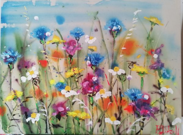 Daisies and cornflowers painting by Rachael Dalzell